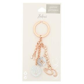 Zodiac Rose Gold Keychain - Gemini,