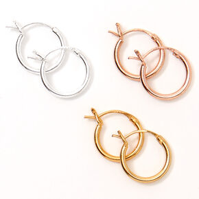 Mixed Metal Sterling Silver 10MM Hinge Hoop Earrings - 3 Pack,