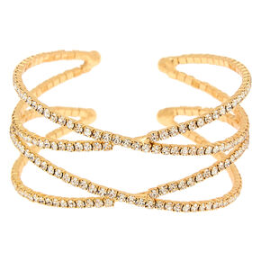 Gold Rhinestone Double Criss Cross Cuff Bracelet,