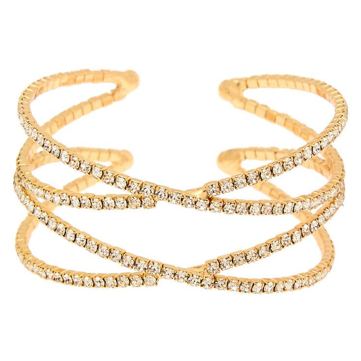 Gold Rhinestone Double Criss Cross Cuff Bracelet,