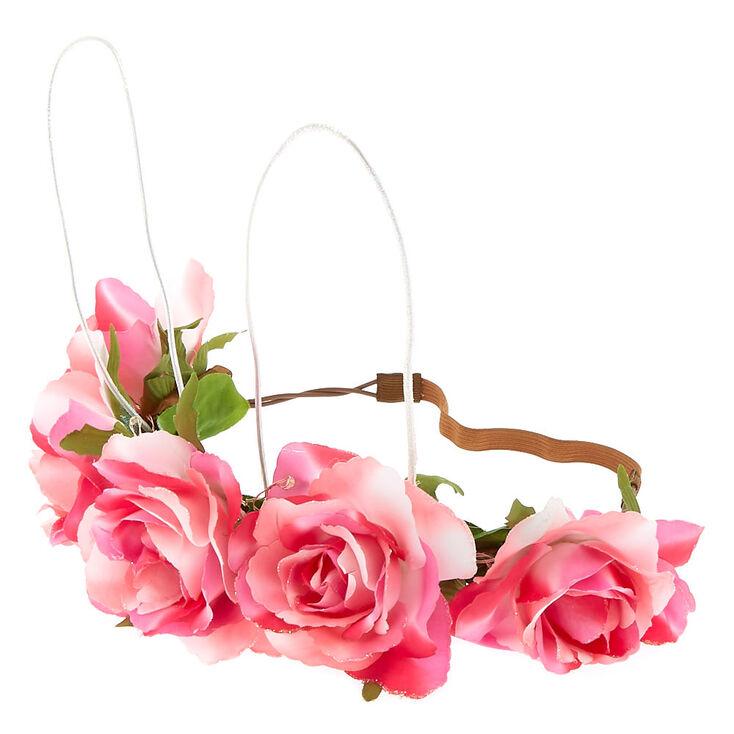 Light Up Bunny Ears Flower Crown Headwrap - Pink,