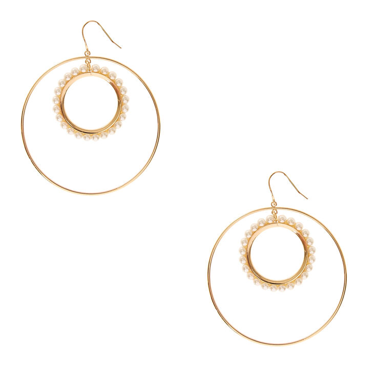 Gold-Tone Double Circle Drop Earrings with Faux Pearls,