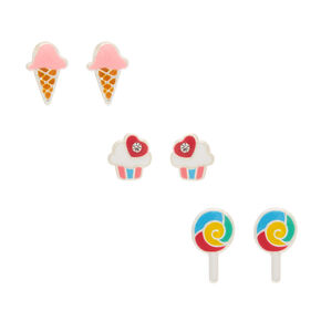 Sterling Silver Sweet Treat Stud Earrings - 3 Pack,