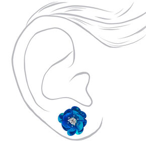 Sequin Flower Stud Earrings - 3 Pack,