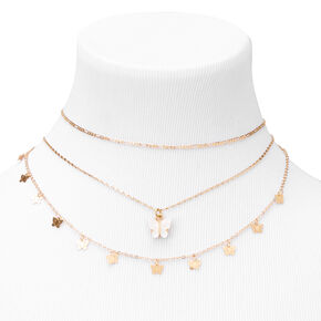 Gold Resin Butterfly Choker Necklaces - 3 Pack,