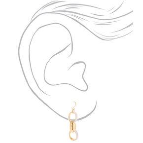 """Gold 1.5"""" Enamel Link Drop Earrings - White,"""