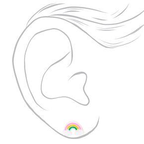 Sterling Silver Glitter Rainbow Stud Earrings,