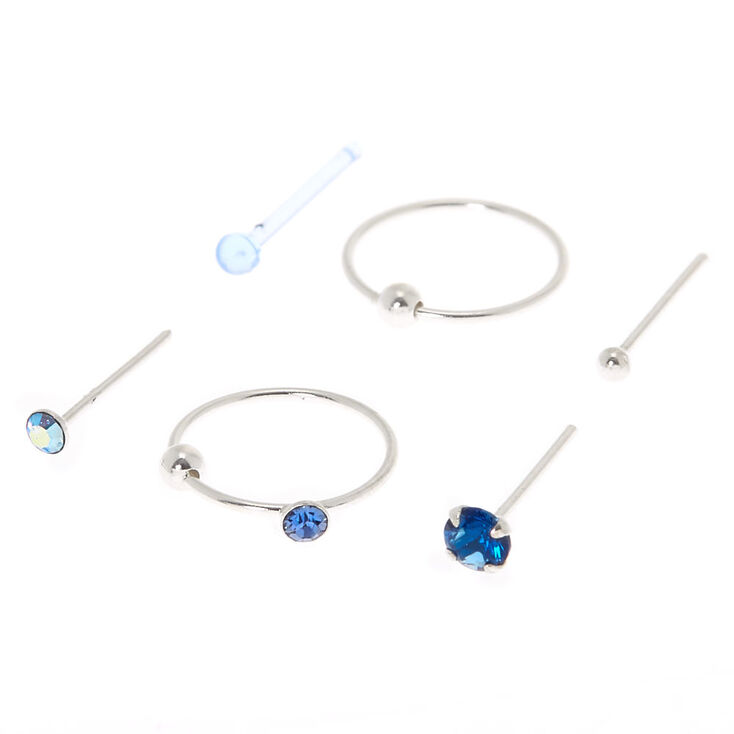 Sterling Silver 22G Beaded Icy Nose Studs & Rings - 6 Pack,