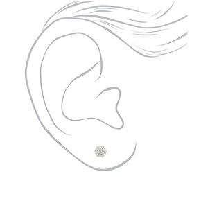 Sterling Silver Graduated Crystal Stud Earrings - 3 Pack,
