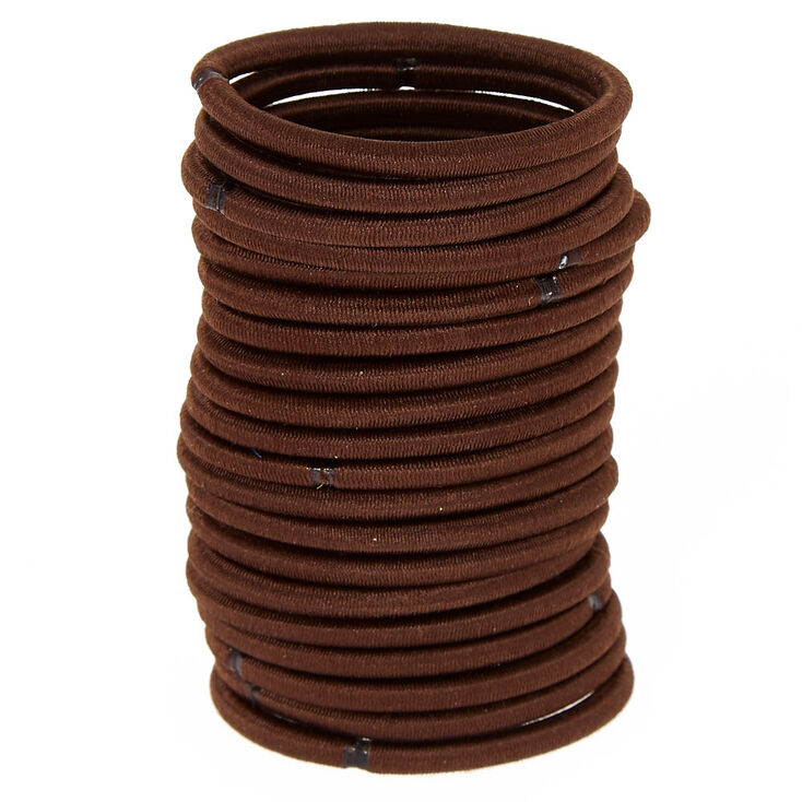 Solid Hair Ties - Brown, 20 Pack,