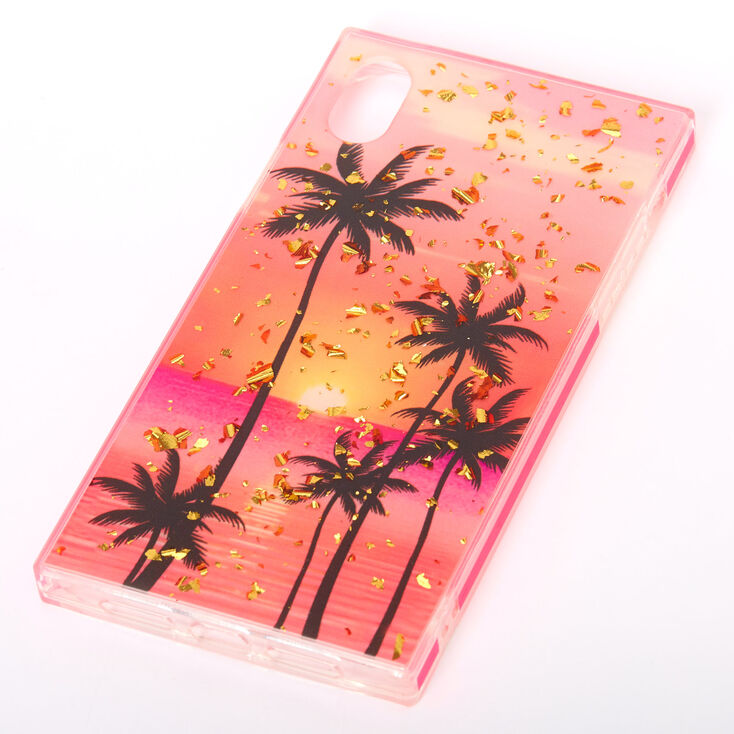 Palm Tree Sunset Rectangle Phone Case - Fits iPhone XR,