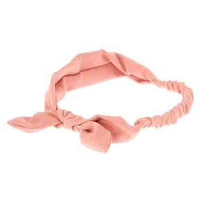 Suede Knotted Bow Headwrap - Pink,