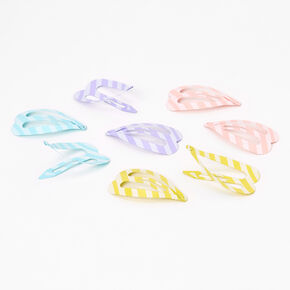 Pastel Stripe Heart Snap Hair Clips - 8 Pack,