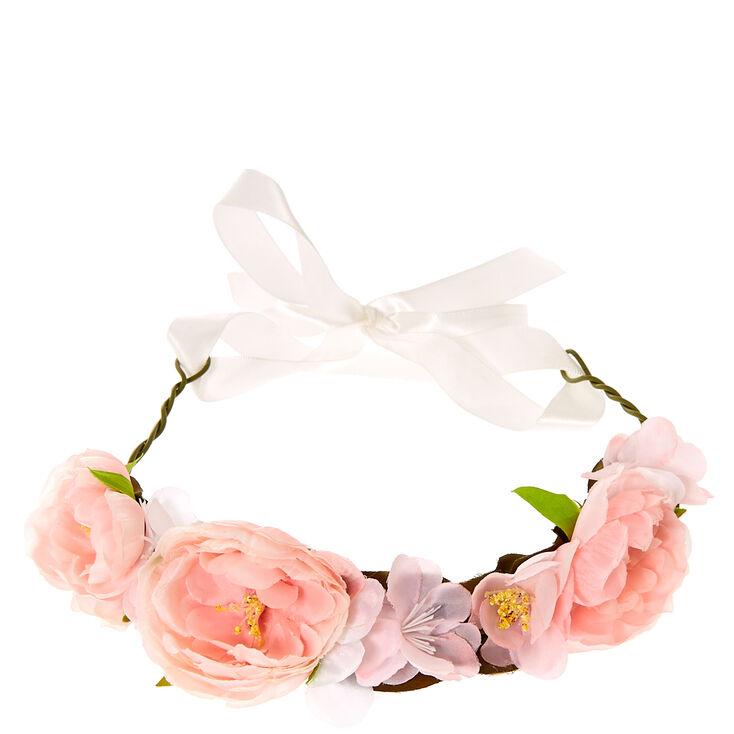 Pink Flower Ribbon Headwrap,