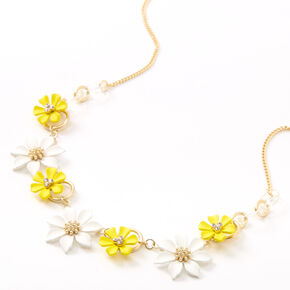 Gold Yellow & White Flower Statement Necklace,