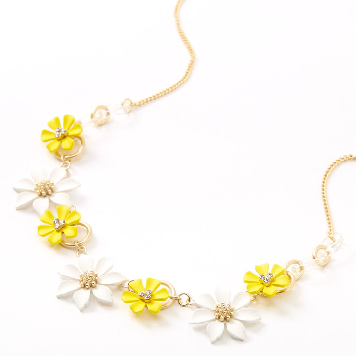 60s -70s Jewelry – Necklaces, Earrings, Rings, Bracelets Icing Gold Yellow  White Flower Statement Necklace $16.99 AT vintagedancer.com