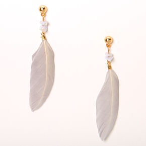 "Gold 3"" Agate Stone Feather Drop Earrings - Gray,"
