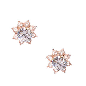 Rose Gold Tone Crystal Flower Front & Back Stud Earrings,