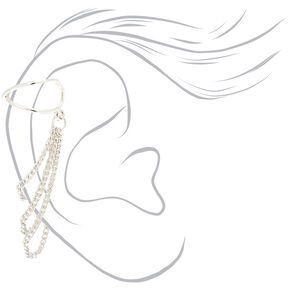 Silver Chain Criss Cross Ear Cuff,