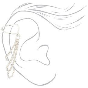 Silver Chain Criss Cross Ear Cuff,