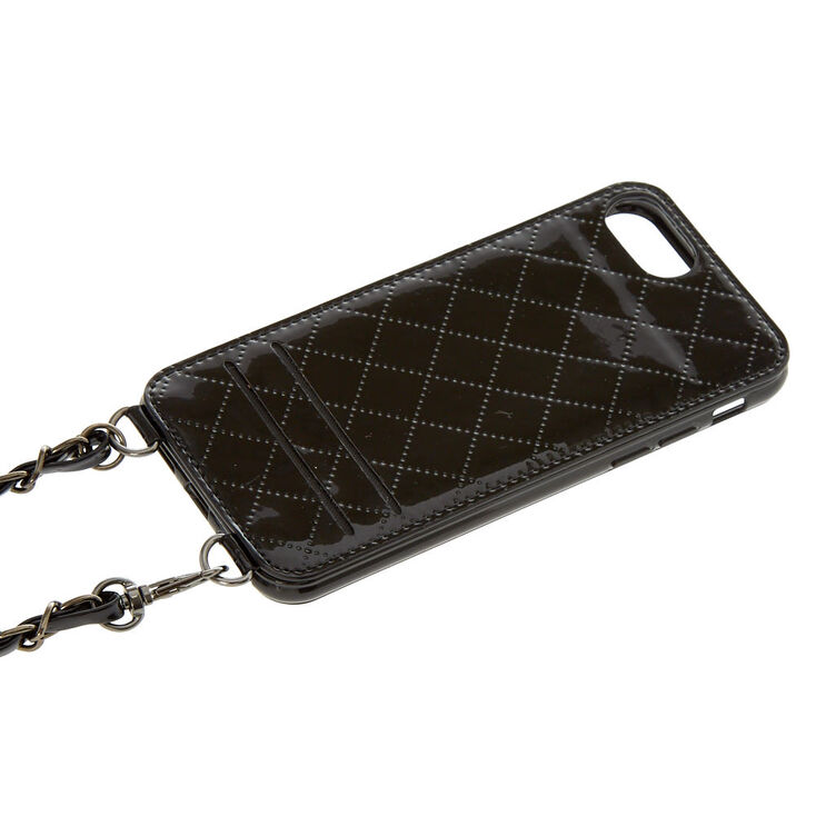 Black Quilted Crossbody Phone Case,
