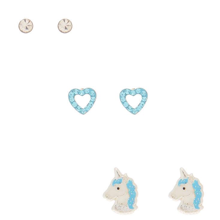 Sterling Silver Unicorn Love Stud Earrings - Baby Blue, 3 Pack,