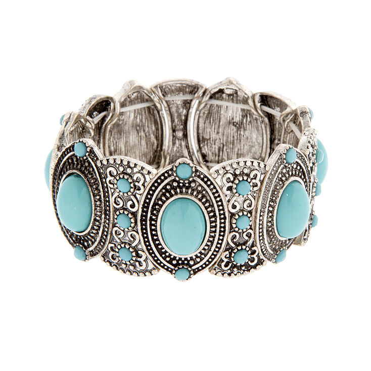 Ornate Antique Silver & Turquoise Ovals Stretch Bracelet,