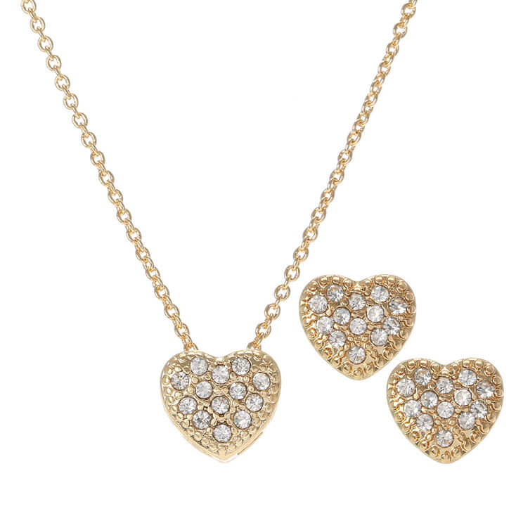 Gold Tone Heart with Rhinestones Necklace and Matching Pierced Earrings