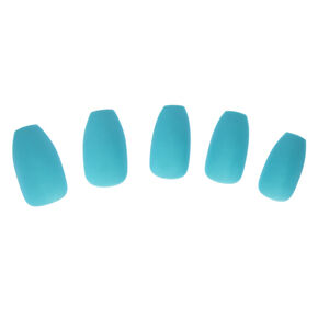 Teal Matte Finish Coffin Instant Nails,