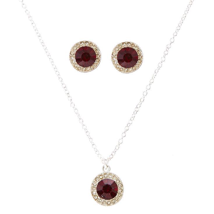 Round Red Cubic Zirconia Jewelry Set,