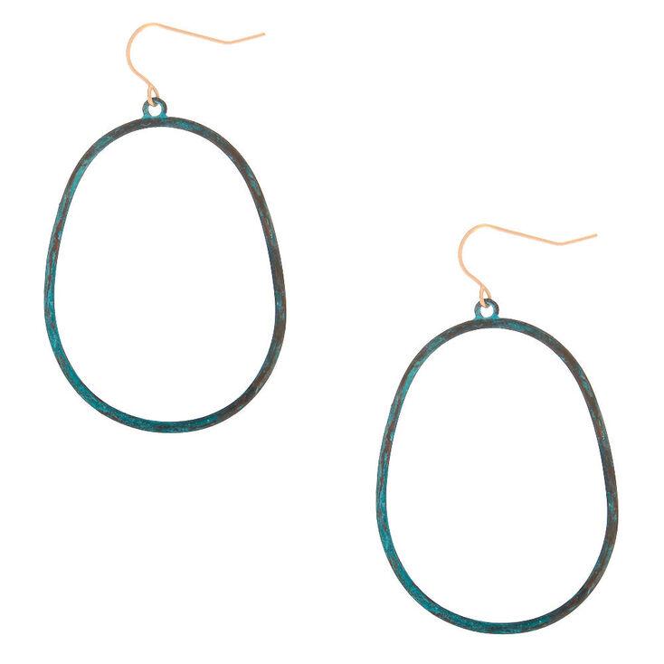 "2"" Patina Oval Drop Earrings,"