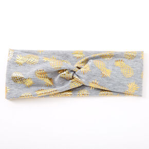 Metallic Pineapple Twisted Headwrap - Gray,