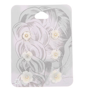 Pearlized Floral Hair Spinners - White, 6 Pack,