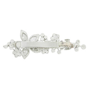Silver Imitation Crystal And Pearl Flower Barette,
