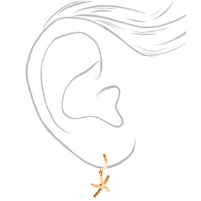 Gold 10MM Starfish Huggie Hoop Earrings,