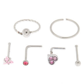 Silver 20G Heart Stud & Hoop Nose Rings - Pink, 6 Pack,