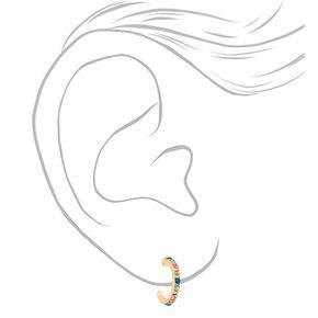 Gold 15MM Rainbow Hoop Earrings,