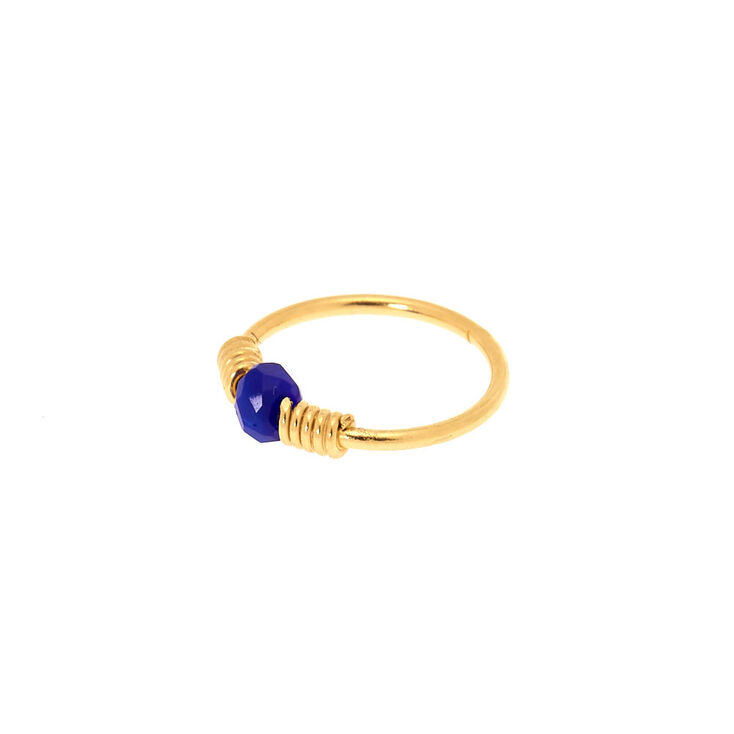 Sterling Silver Gold 22G Bead Nose Ring - Navy,
