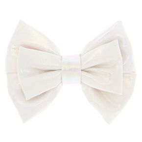 Mini Iridescent Hair Bow Clip - White,