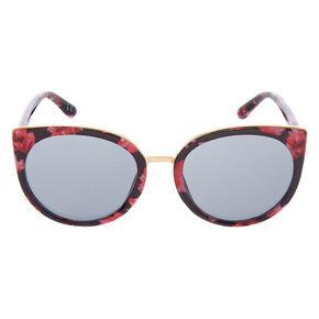 Round Floral Print Sunglasses - Black,