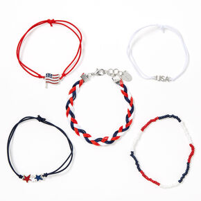 USA Patriotic Mixed Bracelets - 5 Pack,