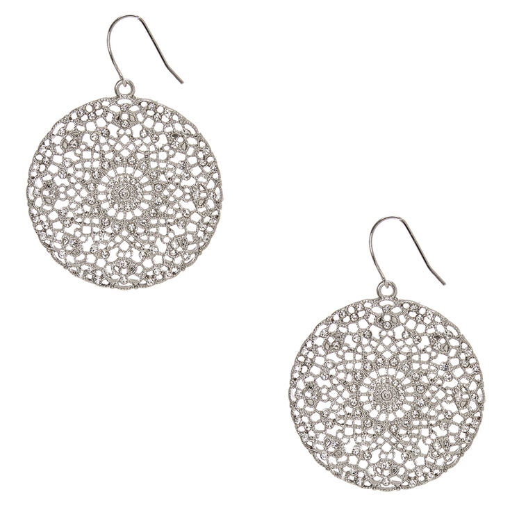Silver Tone Faux Crystal Accented Filigree Medallion Drop Earrings,