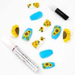 Blue Sunflowers Stiletto Faux Nail Set - 24 Pack,