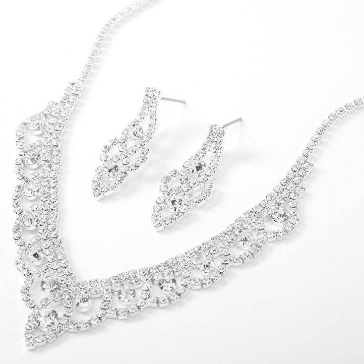 Silver Rhinestone Mini Scalloped V Jewelry Set - 2 Pack,