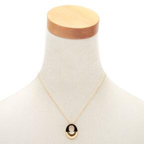 Gold Open Enamel Pendant Necklace - Black,