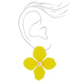 """2"""" Flower Stud Earrings - Yellow,"""