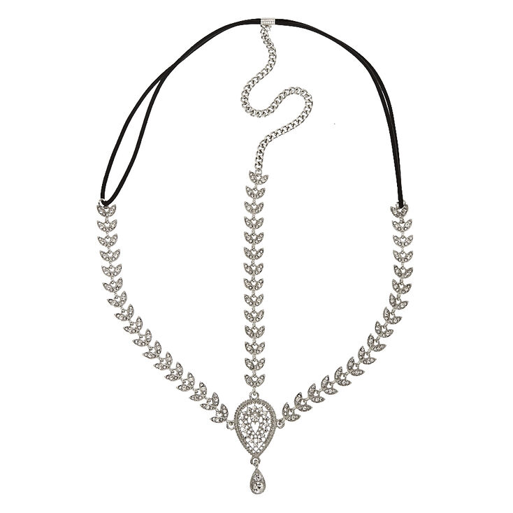 Silver Tone Crystal Leaves & Teardrop Medallion 3-Way Headwrap,