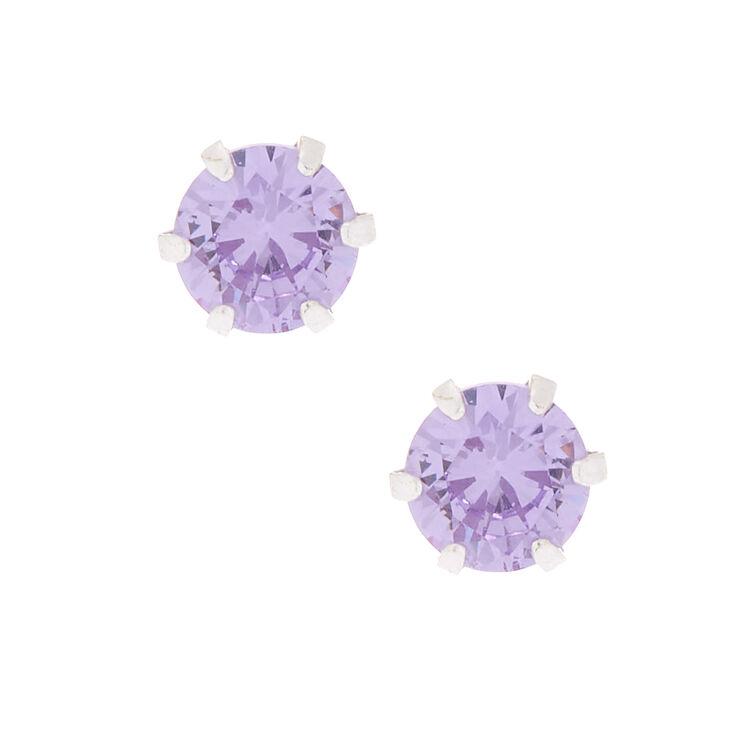 Sterling Silver Cubic Zirconia Stud Earrings - Lavender,