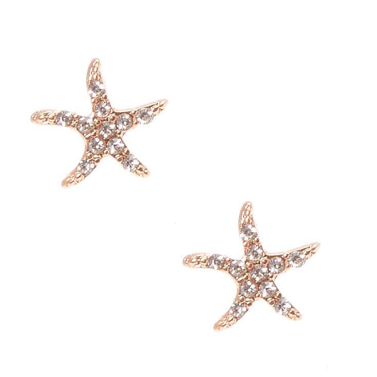 Rose Gold Toned Star Fish Stud Earrings,