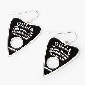 """Silver 2"""" Ouija Board Triangle Drop Earrings - Black,"""